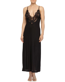 Sophia Lace-Inset Long Gown, Black