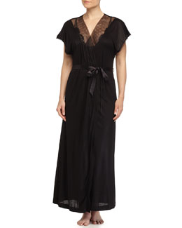 Sophia Mesh-Inset Long Robe, Black