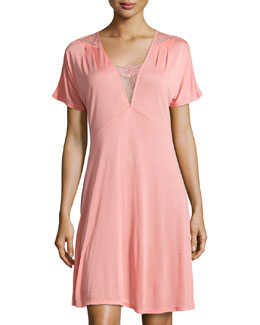 Magnolia Lace-Trim Short Nightgown