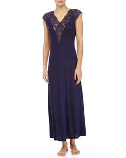 Margherita Lace-Trim Sleepdress, Navy