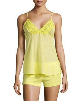 Sangallo Eyelet Shortie Pajama Set, Lime