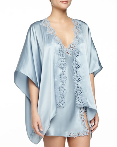 Petite Macrame Short Robe, Blue