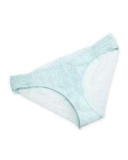 Sophia Lace-Trim Bikini Briefs, Aqua