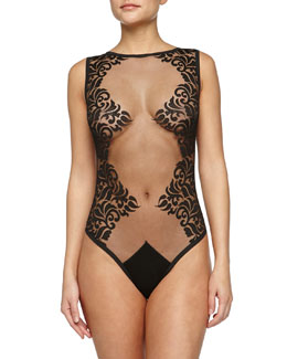 Scroll-Print Mesh Bodysuit, Black