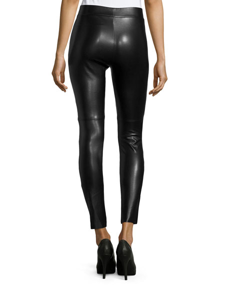 Estella Faux-Leather Leggings, Black