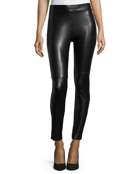 Estella Faux-Leather Leggings, Black