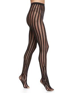 Trocadero Vertical-Stripe Tights, Black