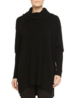 Cashmere-Blend Long-Sleeve Poncho