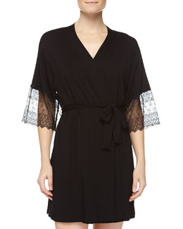 Papyrus Short Robe, Black