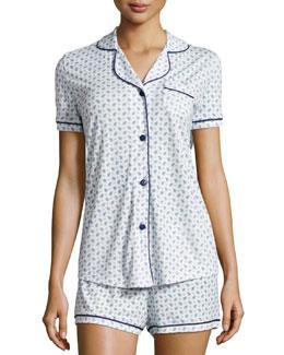 Bella Paisley-Print Two-Piece Pajama Set, White/Blue
