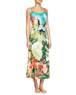 Birds of Paradise Long Satin Gown, Freshwater, Women's