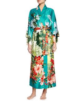 Birds of Paradise Long Satin Robe, Freshwater