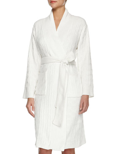 Truffle Knit-Chenille Wrap Robe, Winter White