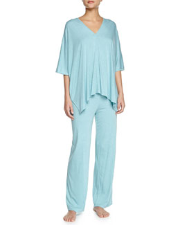 Shangri La Two-Piece Tunic Pajama Set, Freshwater, Women's
