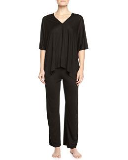 Shangri La Two-Piece Tunic Pajama Set, Black