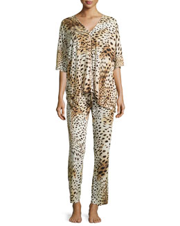 Gabon Two-Piece Tunic Pajama Set, Leopard, Women's