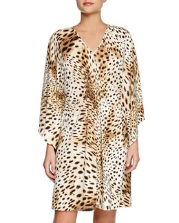 Gabon Short Leopard-Print Caftan