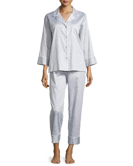 Natori Leopard-Print Poplin Pajama Set, Gray Leopard