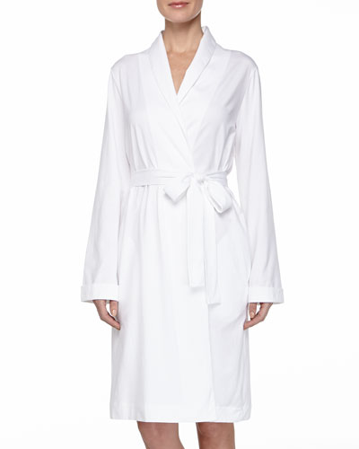 Cotton Wrap Jersey Robe, White