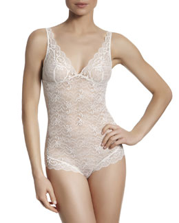 Celeste Wire-Free Lace Body Suit, Ivory