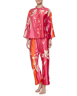 Izabella Mandarin Floral-Print Pajama Set, Multicolor