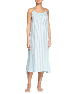 Shadow-Stripe Cotton Gown, Porcelain Blue