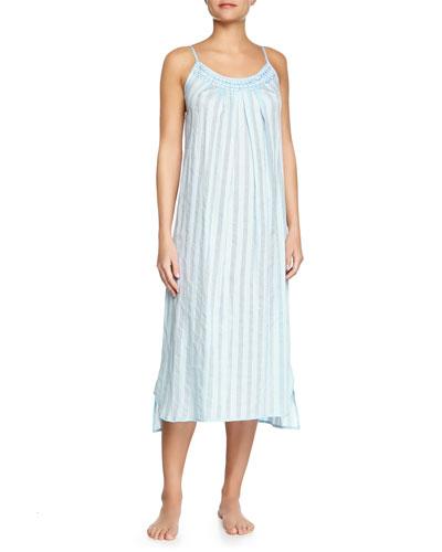 Shadow-Stripe Cotton Gown, Porcelain Blue