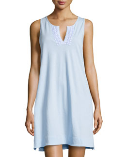 Eyelet V-Neck Sleeveless Gown, Porcelain Blue