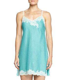 Paradise Voile Lace-Trim Chemise, Light Blue