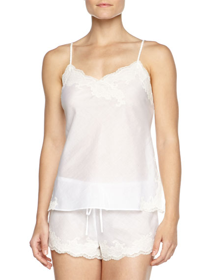 Paradise Two-Piece Voile Pajama Set, White