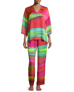 Mirage Mandarin Pajama Set, Multicolor