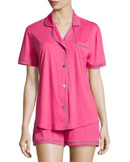 Bella Boxer-Shirt Jersey Pajama Set, Garnet/Petra