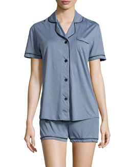 Bella Boxer-Short Jersey Pajama Set, Petra Gray/Black