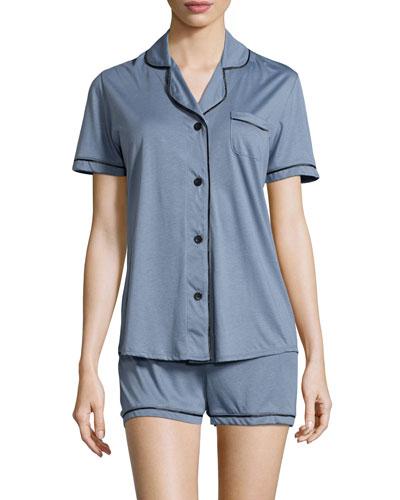 Bella Boxer-Short Jersey Pajama Set, Petra Gray/Black