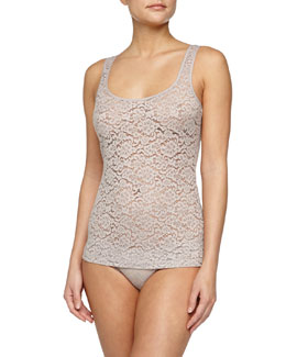 Messina Stretch-Lace Tank, Shadow