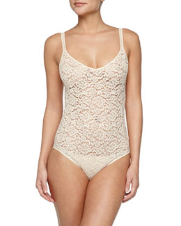 Messina Stretch-Lace Bodysuit, Natural