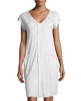 Pisa Short-Sleeve Gown, Crystal Gray