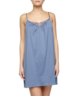 Roma Lace-Trimmed Chemise, Blue Shadow