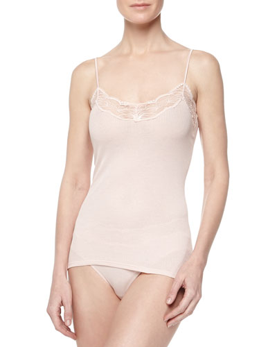 Valencia Lace-Trimmed Ribbed Camisole, Dusty Rose