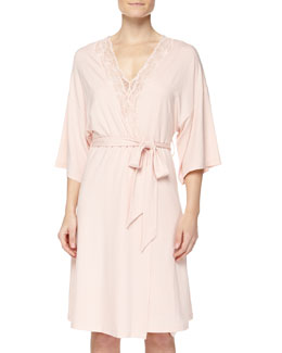 Valencia Jersey-Knit Robe, Dusty Rose