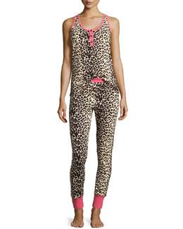 Wild Thing Sleeveless Henley Pajama Set, Coral/Black