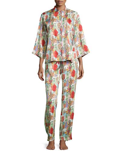 Dynasty Pearl-Print Pajama Set, Multicolor