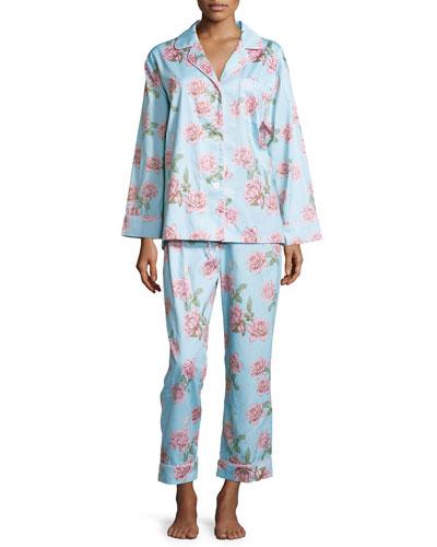 Rose-Print Classic Sateen Pajama Set, Blue Vintage Rose