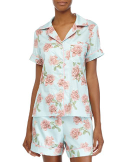 Classic Shorty Pajama Set, Blue Vintage Rose