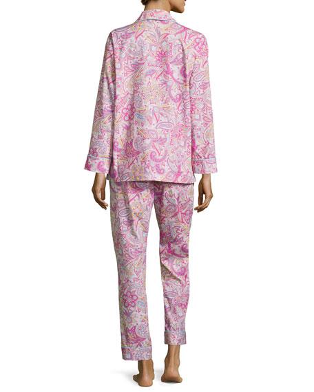 Paisley-Print Classic Pajama Set, Pink