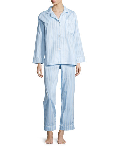 Striped Classic Poplin Pajama Set, Turquoise