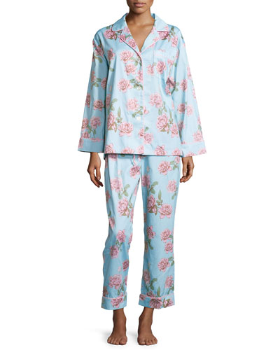 Rose-Print Classic Sateen Pajama Set, Blue Vintage Rose, Women's