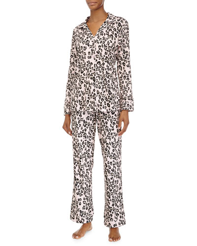 Classic Long-Sleeve Pajama Set, Pink Leopard, Women's