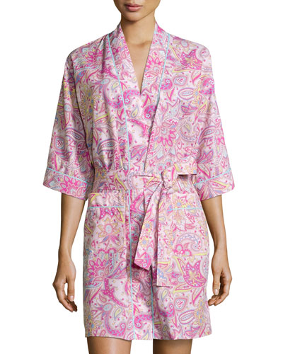 Paisley-Print Poplin Kimono Robe, Pink