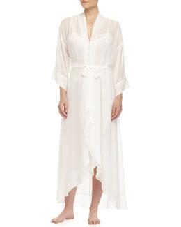 Raquel Long Chiffon Robe, Ivory